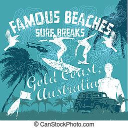 costa, vetorial, arte, ouro, surfista