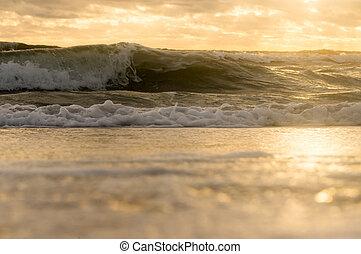 costa, vista, abaixo, tempestade, ondas