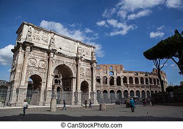 Costantine's arc in Rome, Italy