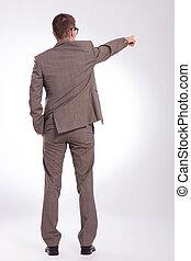 costas, apontar, negócio, jovem, mão, bolso, homem