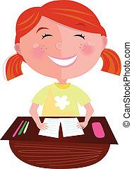 costas, cabelo, school:, menina, vermelho, feliz