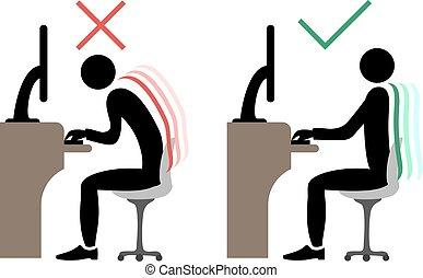 costas, correto, escritório, sentando