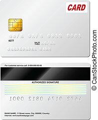 costas, crédito, vetorial, em branco, frente, vista., template., cartão