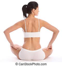 costas, de, ajustar, mulher jovem, sentando, em, roupa interior
