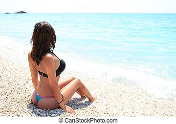 costas, de, excitado, menina, ligado, verão, praia
