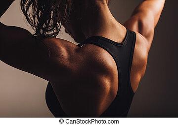 costas, de, femininas, condicão física, modelo