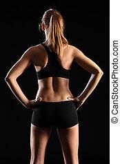 costas, de, mulher, em, esportes, equipamento