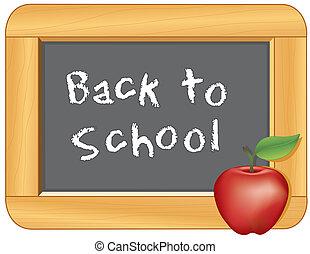 costas, escola, quadro-negro, maçã