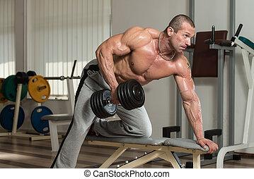 costas, exercícios, com, dumbbell
