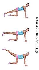 costas, exercícios, mulher, coxa, jovem
