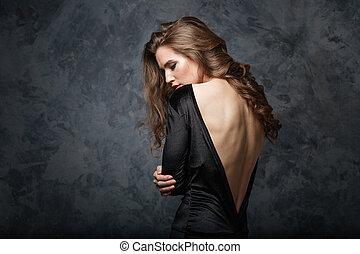 costas, jovem, abertos, vestido preto, mulher, bonito