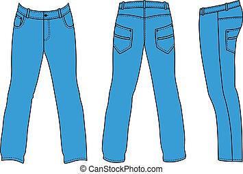 costas, lado, calças brim, azul, (front, homem