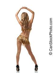 costas, menina, dança, dançar, latim, vista, excitado