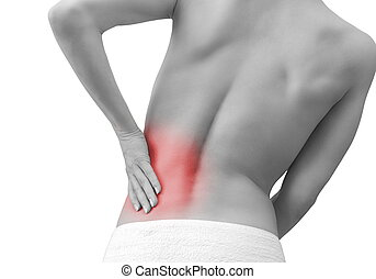costas, mulher, dor, dela, isolado, passe segurar, branca,...