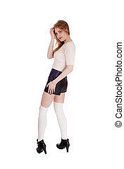 costas, olhar, posição mulher, couro, shorts
