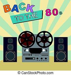 costas, para, a, 80's., retro, coloridos, experiência.