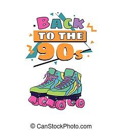 costas, para, a, 90s, cartaz, bandeira, modelo, com, patins...