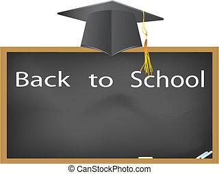 costas, para, school-, boné graduação, penduradas, acima, a, quadro-negro