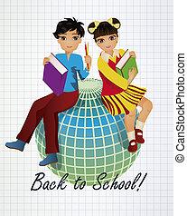 costas, para, school., pequeno, asiático, crianças