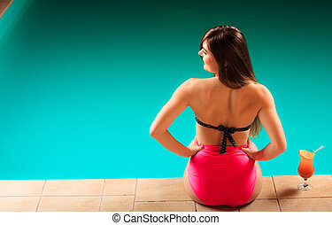 costas, pool., biquíni, mulher