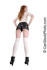 costas, posição mulher, couro, shorts