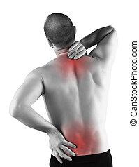 costas, sério, dor