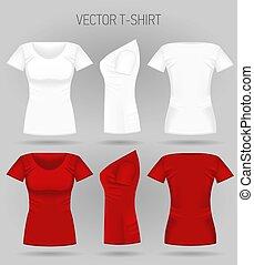 costas, views., mulheres, t-shirt, realístico, camisas, femininas, em branco, branca, desporto, frente, vermelho, lado