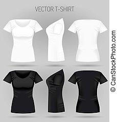 costas, views., mulheres, t-shirt, realístico, pretas, camisas, femininas, em branco, branca, desporto, frente, lado
