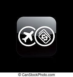 coste, aislado, ilustración, solo, vector, billete de avión, icono