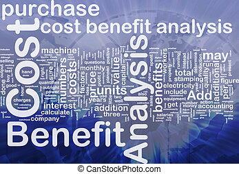 coste, beneficio, análisis, plano de fondo, concepto