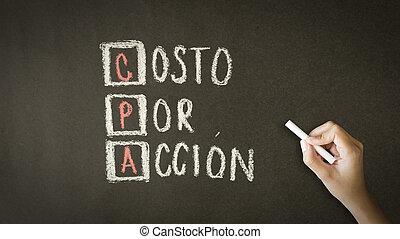 coste, por, acción, (in, spanish)