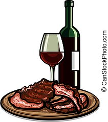 costelas, sobressalente, vinho tinto