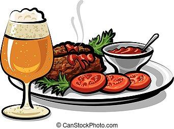 costeletas, cerveja