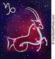 costellazione, gemme, cosmo, stelle, capricorno