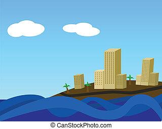costero, ciudad, por, día