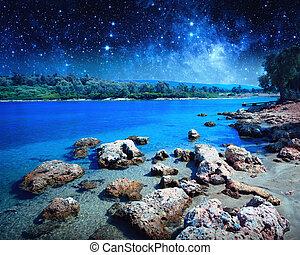 costiero, paesaggio, su, cleopatra's, island., elementi, di, questo, immagine, ammobiliato, vicino, nasa