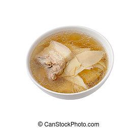 costillade cerdo, sopa, con, brotes de bambú