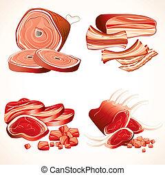 costillas, carne, iconos, set., jamón, filetes, tocino