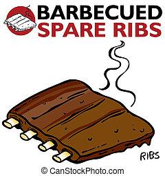 costillas, sobrante, barbecued