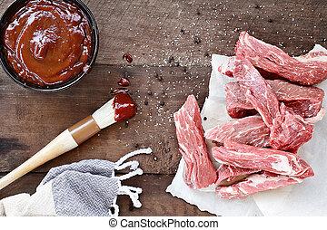 costole, fresco, paese, salsa, barbecue
