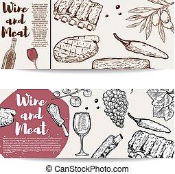 costole, poster., carne, ogive, aviatore, grape., menu, bistecca, cotto ferri, vettore, disegno, illustrazione, vino, bandiera, template., elementi, vino