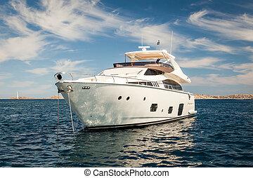 costoso, bianco, yacht, ancorato