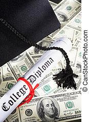 costoso, educación, concepto