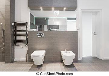 costoso, moderno, cuarto de baño