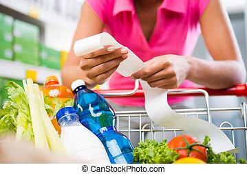 costoso, tienda de comestibles, cuentas