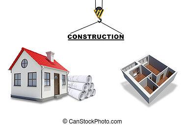 costruendo solleva gru, modello, pavimento