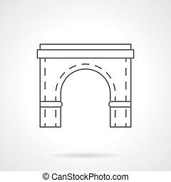 costruire ponte arco, elemento, linea fissa, vettore, icona