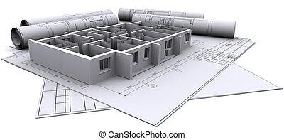 costruito, pareti, di, uno, casa, su, costruzione, disegni