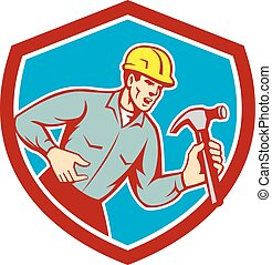 costruttore, carpentiere, gridare, martello, scudo, retro