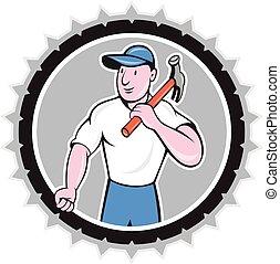 costruttore, carpentiere, presa a terra, martello, rosetta, cartone animato